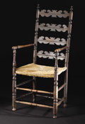 Furniture: English, An English Provincial Ladderback Chair. Unknown maker, English. Seventeenth Century. Oak. Unmarked. 49 inches high. The ...
