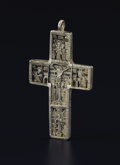 Silver Smalls:Other , An Orthodox Silver Pectoral Cross. Unknown maker, possibly Russian.Seventeenth Century. Silver. Unmarked. 3.75 inches hig...