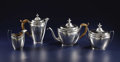 Silver Smalls:Other , A Three Piece American Coffee Service. Ephriam Brasher, New York,New York. Circa 1770-1780. Silver and wood. Marks: EB... (Total:4 )