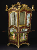 Furniture : Continental, A Venetian Rococo Sedan Chair. Unknown maker, Venice, Italy. MidEighteenth Century. Gilt and polychrome wood. 80 inches h...