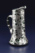 Silver Holloware, American:Pitchers, A Glass and Silver Overlay Pitcher. English or American. Circa 1890-1910. Glass and silver. Unmarked. 11 inches high x 6 inc...