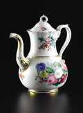 Ceramics & Porcelain, Continental:Modern  (1900 1949)  , A German Porcelain Coffee Pot. Unknown maker, German. 20th Century. Porcelain with polychrome enamel and gilt decoration. ...