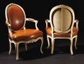 Furniture: French, A Pair of Carved Louis XV Armchairs. Unknown maker, France. Circa1760. Painted wood. Unmarked. 35 inches high. Each wit... (Total: 2)