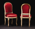 Furniture: French, A Pair of Provincial Louis XV Painted Upholstered Sidechairs.Unknown maker, France. Eighteenth Century. Painted wood. Unm...(Total: 2 )