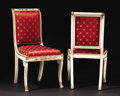 Furniture : Continental, A Pair of Italian Polychromed Neoclassical-Style Sidechairs.Unknown maker, Italian. 20th century. Painted wood and giltwo...(Total: 2 Items)