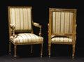 Furniture: French, A Pair of Louis XVI Carved Gilt Upholstered Open Armchairs. Unknownmaker, French. Nineteenth Century. Giltwood. Unmarked... (Total: 2)