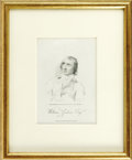 "Autographs:Authors, William Godwin Autograph Note Signed. Framed, clipped inscriptionof William Godwin in dark brown ink, reads ""Tracts. Gift..."
