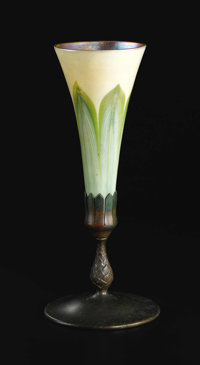 An American Art Glass and Bronze Vase  Tiffany Studios, New York, New York Circa 1900 Favrile glass and patinated bronze...