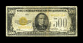 Small Size:Gold Certificates, Fr. 2407 $500 1928 Gold Certificate. Fine.. This is a much in demand type and denomination which is almost never offered in ...