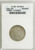 Coins of Hawaii: , 1883 25C Hawaii Quarter--Cleaned--ANACS. AU58 Details. NGC Census:(48/503). PCGS Population (75/860). Mintage: 500,000. (...