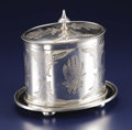 Silver Holloware, British:Holloware, An English Silver Plate Biscuit Box. Unknown maker, Sheffield,England. Nineteenth Century. Silver plate on copper. Marks:...