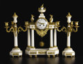 Timepieces:Clocks, A French Louis XVI-style Marble and Gilt Bronze Clock Garniture.Unknown maker, French. Twentieth century. Marble, gilt br...(Total: 3 )