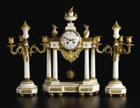 A French Louis XVI-style Marble and Gilt Bronze Clock Garniture  Unknown maker, French Twentieth century Marble, gilt br...