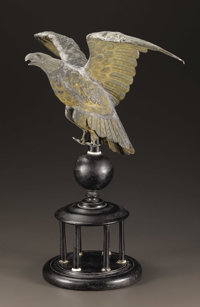 An American Folk Art Eagle  Unknown, American Early Nineteenth century Tin, wood, and whale bone 19 inches high (with b...