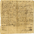 "Autographs:Statesmen, Patrick Henry Document Signed ""P. Henry"". One page, 8"" x 8"",Henry County, Virginia, September 17, 1782, a document sign..."