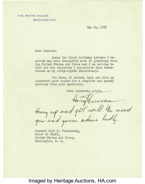 Harry s truman typed letter signed harry s truman as president autographsus presidents harry s truman typed letter signed harry s m4hsunfo