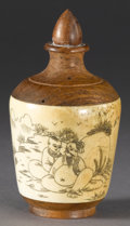 Asian:Chinese, CHINESE WOOD AND BONE SNUFF BOTTLE. Chinese wood and bone snuffbottle, with scene depicting two seated men in a landscape...