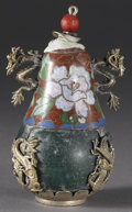 Asian:Chinese, CHINESE SNUFF BOTTLE. Chinese snuff bottle of cloisonné andcomposite, with floral design, and silver/metal overlay of dra...