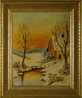 Texas:Early Texas Art - Regionalists, VERA MCGEE (American, dec.). Snow Scene, 1969. Oil on canvasboard. Signed to lower right, labeled to verso. 20in. x 16i...