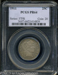 Proof Barber Quarters: , 1911 25C PR64 PCGS.