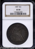 Seated Dollars: , 1847 XF40 NGC. ...