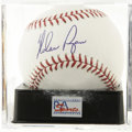 Autographs:Baseballs, Nolan Ryan Single Signed Baseball, PSA Mint 9. Baseball's mostunhittable pitcher here provides a near flawless signature to...