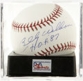 "Autographs:Baseballs, Billy Williams ""H.O.F. '87"" Single Signed Baseball, PSA Mint 9.Sweet Swingin' Billy Williams here makes note of his Hall of..."