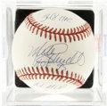 Autographs:Baseballs, Mike Schmidt Single Signed Stat Baseball, PSA NM-MT+ 8.5. Inaddition to depositing a fantastic signature to the ONL (White)...