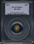 California Fractional Gold: , 1876 Liberty Round 25 Cents, BG-854, Low R.5, MS64 PCGS. ...