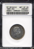 Coins of Hawaii: , 1883 Hawaii Quarter VF20 ANACS. ...