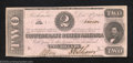 Confederate Notes:1862 Issues, 1862 $2 Judah P. Benjamin, T-54, Extremely Fine. This pink ...