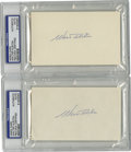 Autographs:Index Cards, Walt Alston Signed Index Card, PSA Authentic Lot of 2. Hall of Fameskipper Walt Alston completed his heralded career as th...