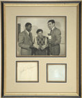 Autographs:Letters, Jackie Robinson and Ralph Branca Framed Signatures. One famous andone infamous. Jackie Robinson and Ralph Branca are pictu...