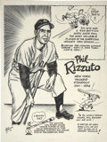 Baseball Collectibles:Others, Phil Rizzuto Comic Art Lot of 2. A unique lot from the Phil RizzutoCollection. We offer a hand drawn art of Rizzuto by the...