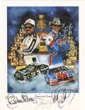 Autographs:Others, Dale Earnhardt and Richard Petty/Jeff Gordon Signed Lithographs Lotof 2. The famous NASCAR artist, Jeanne Barnes created t...