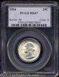 Washington Quarters: , 1934 MS67 PCGS. ...