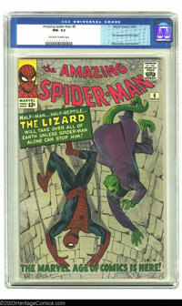 Amazing Spider-Man #6 (Marvel, 1963) CGC NM- 9.2 Off-white to white pages. First appearance of the Lizard. Steve Ditko c...