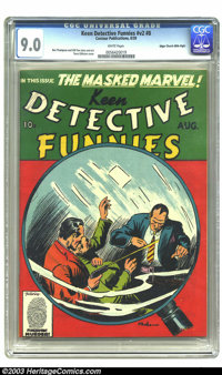 Keen Detective Funnies V2#8 Mile High pedigree (Centaur, 1939) CGC VF/NM 9.0 White pages. Featuring the Masked Marvel, D...