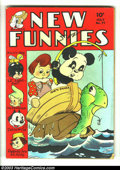 Golden Age (1938-1955):Funny Animal, New Funnies #77 (Dell, 1943) Condition: GD/VG. Featuring Andy Pandain the world of real people story. Walt Kelly cover. Ove...
