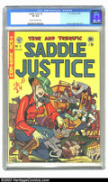 """Golden Age (1938-1955):Western, Saddle Justice #5 (EC, 1949) CGC VF 8.0 Cream to off-white pages. Overstreet notes this title to be """"the 1st EC by Bill Gain..."""