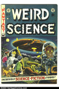 Golden Age (1938-1955):Science Fiction, Weird Science #16 (EC, 1952) Condition: VG-. Wally Wood flyingsaucer cover. Interior art by Wood, Al Williamson, Jack Kamen...