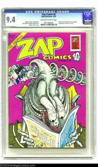 Zap Comix #6 (Apex Novelties, 1973) CGC NM 9.4 Off-white to white pages. Gilbert Shelton cover. Interior art by Robert C...