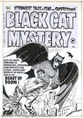 Original Comic Art:Covers, Al Avison - Original Cover Art for Black Cat Mystery #41 (Harvey,1952). Black evil swoops down from the ominous skies! A be...