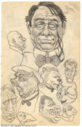 "Original Comic Art:Sketches, Robert Crumb - Original Sketches, ""Spectacled Man and Cute Kitten""(undated). An outstanding two-sided page from one of Crum..."