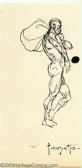 "Original Comic Art:Sketches, Frank Frazetta - Original Sketch, ""Man Carrying Sack"" (undated). Pen and ink drawing by Frank Frazetta. Measures 3"" x 5.5"" o..."