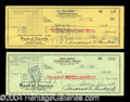 Autographs, Lucille Ball & Desi Arnaz Signed Check Lot