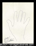 Autographs, Red Buttons Signed Hand Sketch