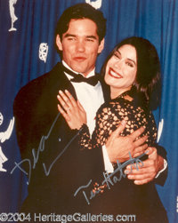 Dean Cain and Teri Hatcher dual signed 8x10 - 8x10 color, glossy photograph, signed by both in silver metallic pen Est...