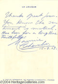 Autographs, Maurice Chevalier Signed to Joan Crawford