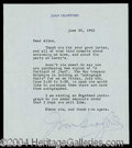 Autographs, Joan Crawford Signed Typed Letter
